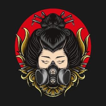 Kunstwerk illustratie en t-shirt gasmasker geisha gravure ornament