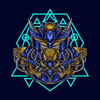 Kunstwerk illustratie en t-shirt mecha robot hoofd met heilige geometrie