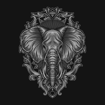 Kunstwerk illustratie en t-shirt olifant hoofd gravure ornament