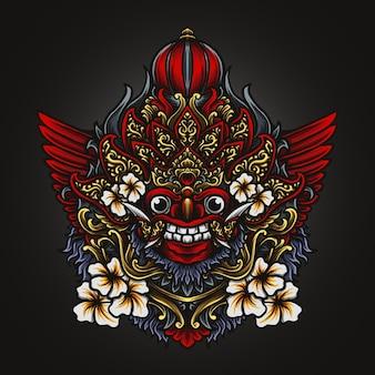 Kunstwerk illustratie en t-shirt ontwerp barong graveren ornament