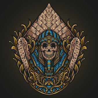 Kunstwerk illustratie en t-shirt ontwerp egyptische koning schedel gravure ornament