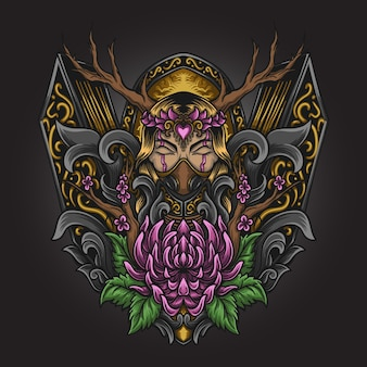 Kunstwerk illustratie en t-shirt ontwerp godin natuur gravure ornament