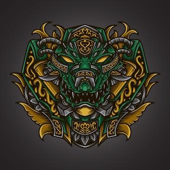 Kunstwerk illustratie en t-shirt ontwerp krokodil gravure ornament