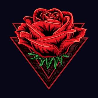 Kunstwerk illustratie en t-shirt ontwerp menselijke roos met dubbele driehoek