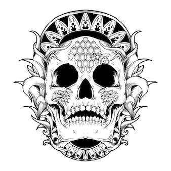 Kunstwerk illustratie en t-shirt ontwerp schedel bijenkorf gravure ornament