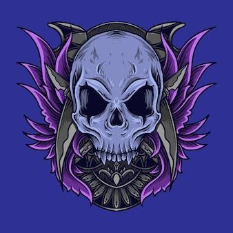 Kunstwerk illustratie en t-shirt ontwerp schedel gravure ornament