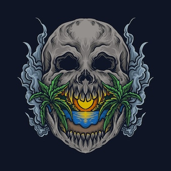 Kunstwerk illustratie en t-shirt ontwerp schedel strand