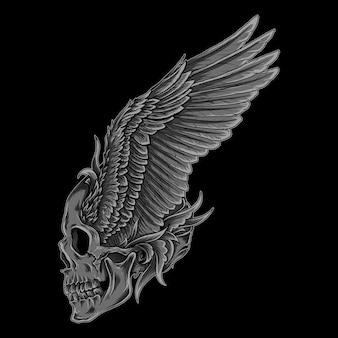 Kunstwerk illustratie en t-shirt ontwerp schedel vleugel