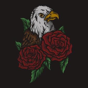 Kunstwerk illustratie en t-shirtontwerp adelaar en roos gravure ornament