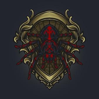 Kunstwerk illustratie en t-shirtontwerp gouden spingravure ornament