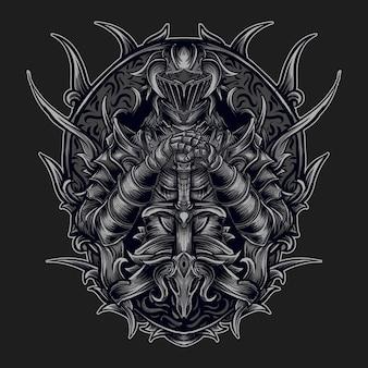 Kunstwerk illustratie en t-shirtontwerp ridder in gravure ornament