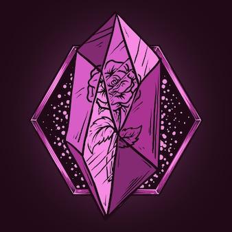 Kunstwerk illustratie en t-shirtontwerp roos in kristalsteen