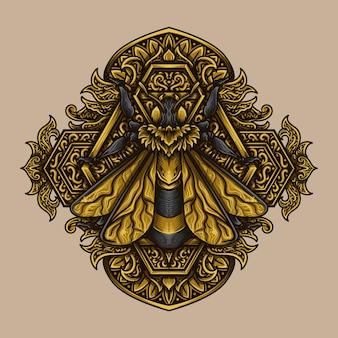 Kunstwerk illustratie gouden bijengravure ornament