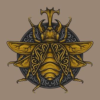 Kunstwerk illustratie gouden bug gravure ornament
