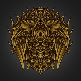 Kunstwerk illustratie gouden engel vleugel gravure ornament