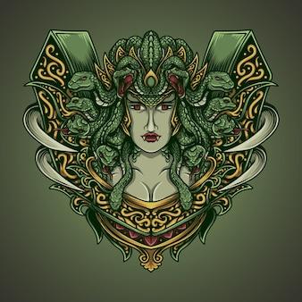 Kunstwerk illustratie kwal in gravure ornament