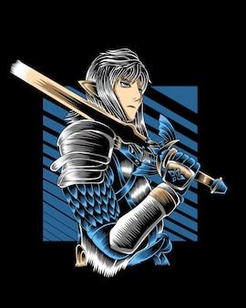 Kunstwerk illustratie machtige ridder met gouden zwaard vector