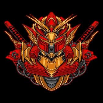 Kunstwerkillustratie en t-shirtontwerp gouden en rode robot