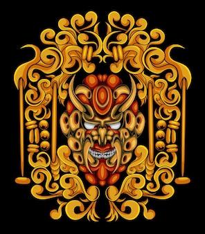 Kunstwerkillustratie en t-shirtontwerp schedelgravure ornament