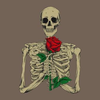 Kunstwerkillustratie en t-shirtontwerp skelet met roos