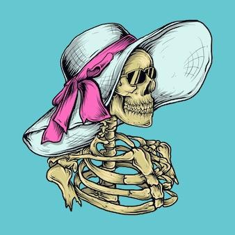 Kunstwerkillustratie en t-shirtontwerp skeletvrouwen met strandhoed