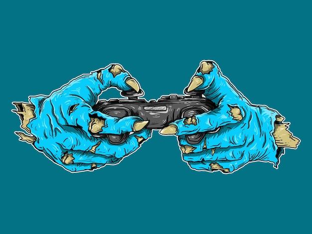 Kunstwerkillustratie en t-shirtontwerp zombiehand met controllerspel