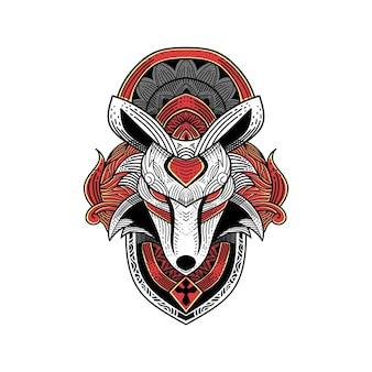 Kunstwerkillustratie en t-shirtwolfgravureornament