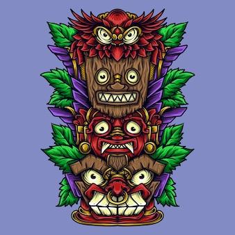 Kunstwerkillustratie en tiki-totem van het t-shirtontwerp