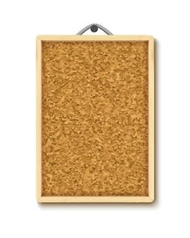 Kurkbord met houten frame. verticaal prikbord dat op kabel hangt
