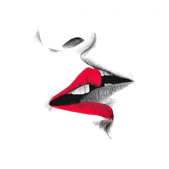 Kus schets illustratie, hand getrokken zwarte, rode en witte doodle