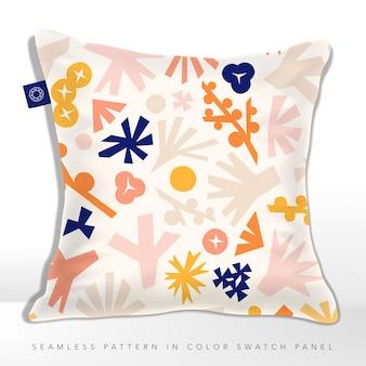 Kussen in pastel roze beige blauw en oranje botanische abstracte bloesems en tuinelementen naadloze patroon
