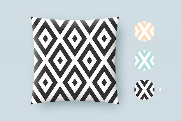 Kussen met naadloze moderne stijlvolle textuur en grafisch patroon. zwarte herhalende absract geometrische tegels met gestippelde ruit