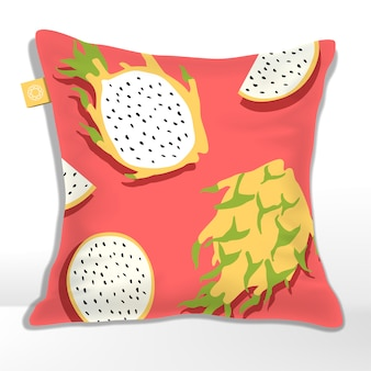 Kussen of kussen met geel pitaya of dragon fruit patroon gedrukt