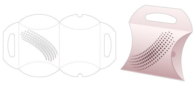 Kussendoos met papieren handvat en gesjabloneerde halftoonstippen gestanst sjabloon