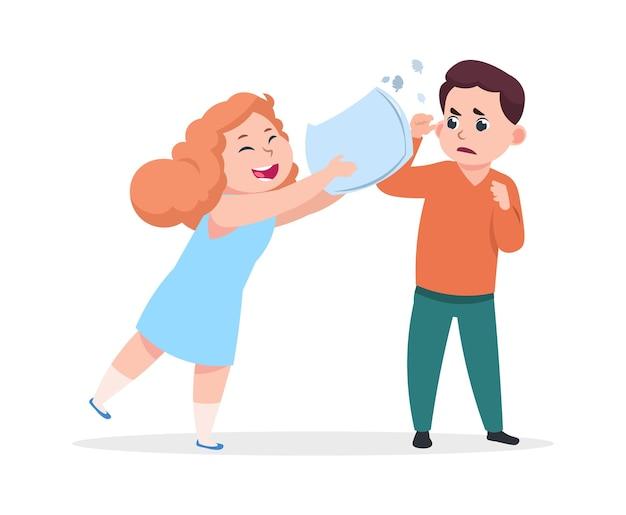 Kussengevecht. vrolijk meisje verslaat ontevreden jongen. agressie, slechte manieren en kwaadaardige spelletjes. kinderwangedrag, preschool kinderen vectorillustratie. kinderen cartoon spelen, kwaad spel en agressie