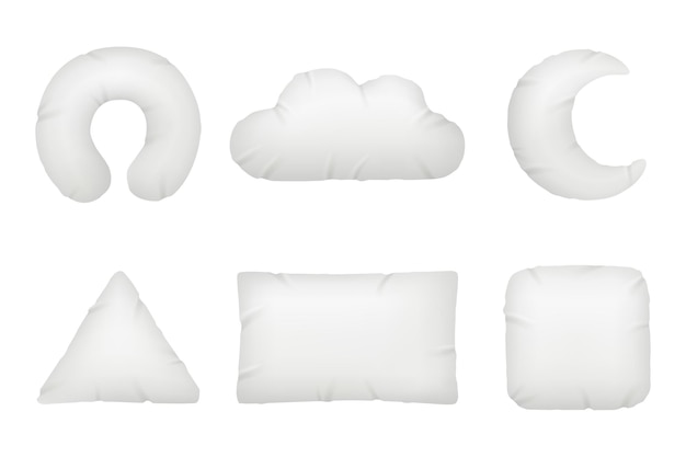 Kussens verschillende vormen. nachtsymbolen voor ontspannen en comfortabele rust opblaasbare of veren kussens vector realistisch. katoenen beddengoed kussen, stof textiel pluizige illustratie