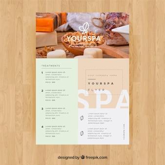 Kuurcentrum-flyer met informatie over behandelingen in vlakke stijl