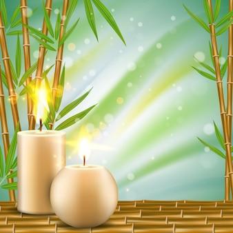 Kuuroordachtergrond met bamboe en aromakaarsen realistische illustratie