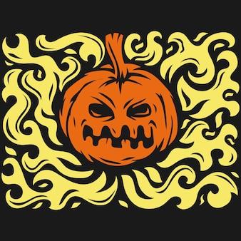 Kwaad brandend halloween-symbool illustratie op zwarte achtergrond