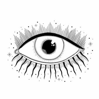 Kwaad oog symbool zien. occult mystiek embleem. esoterische tekenalchemie, decoratieve stijl, voorzienigheidsgezicht.