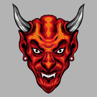 Kwaad rode gehoornde duivel hoofd illustratie