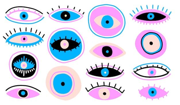 Kwaad ziende oog symbool naïeve set
