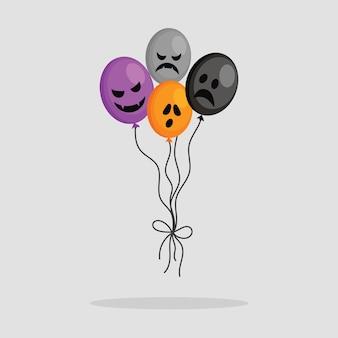 Kwade ballonnen voor halloween. vectorillustratie in cartoon-stijl op witte achtergrond