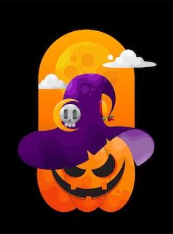 Kwade halloween-pompoen glimlachend met heksenhoed Premium Vector