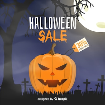 Kwade pompoen halloween verkoop op platte ontwerp