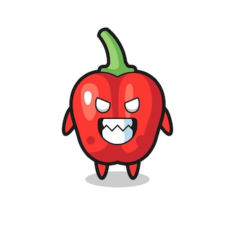 Kwade uitdrukking van het schattige mascottekarakter van de rode paprika, schattig stijlontwerp voor t-shirt, sticker, logo-element