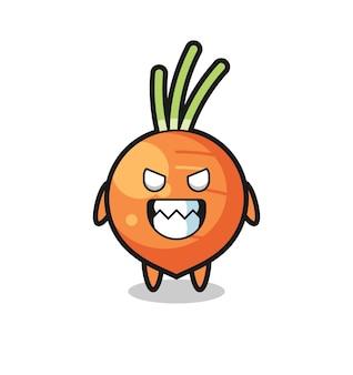 Kwade uitdrukking van het schattige mascottekarakter van de wortel, schattig stijlontwerp voor t-shirt, sticker, logo-element