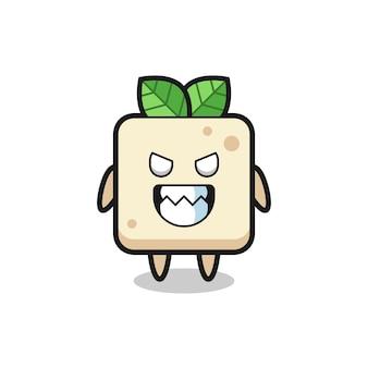 Kwade uitdrukking van het tofu schattige mascottekarakter, schattig stijlontwerp voor t-shirt, sticker, logo-element