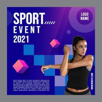 Kwadraat flyer sjabloon voor fitness-activiteit