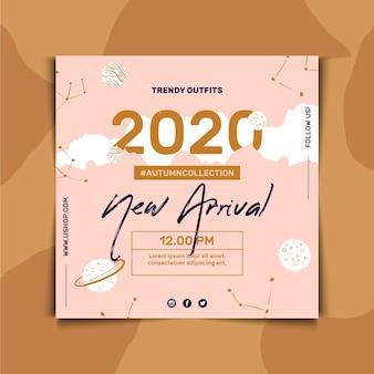 Kwadraat flyer sjabloon voor mode verkoop